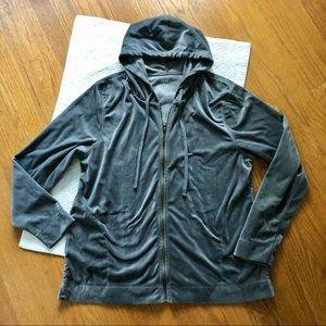 HUE Gray Velour Full Zip Hooded Jacket L